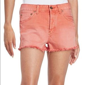 Free People Uptown Denim Frayed Hem Shorts Poppy